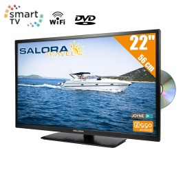 Salora Travel 12 volt 22 inch HD SMART TV met Wifi en DVD-Speler DVB-T2-S2-C